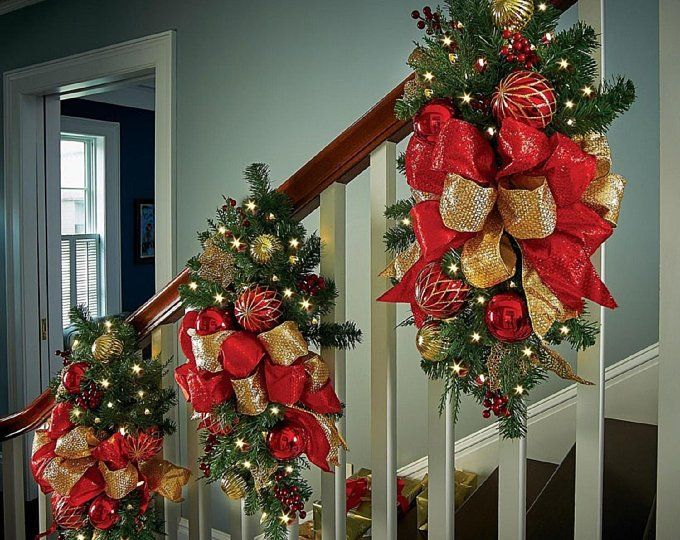 Set Of 4pc Christmas Red Velvet Wreath Garland And 2 Etsy Christmas Stairs Decorations Christmas Staircase Decor Christmas Staircase