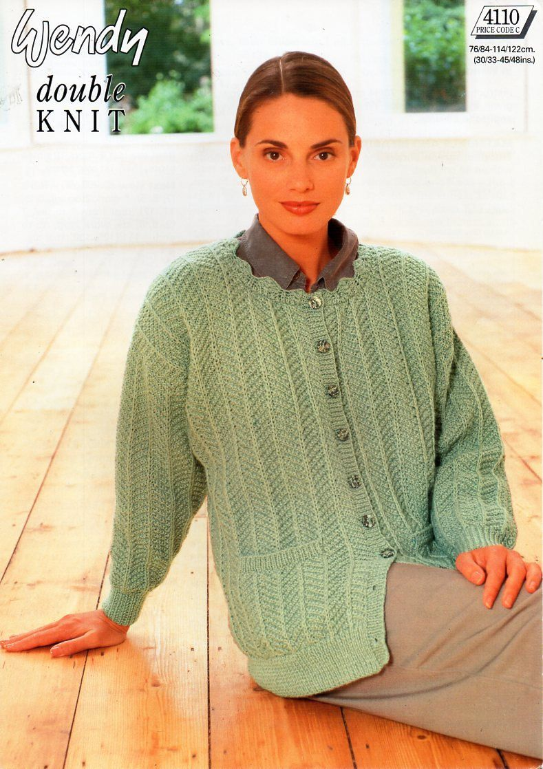 210522f94101 original womens DK cardigan knitting pattern Wendy 4110 ladies lacy jacket  30-48