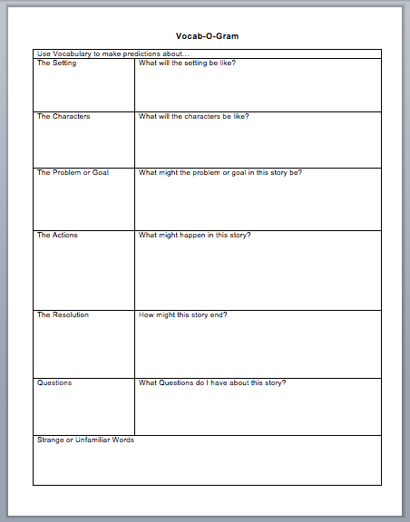 Printables Reading Vocabulary Worksheets frayer model graphic organizers pinterest models the ojays organizer to use while reading predictions story board and place write unknown words