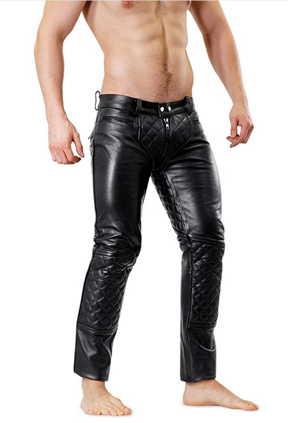 Mens Quilted Tube Style Black Leather Pants #leatherpantsoutfit