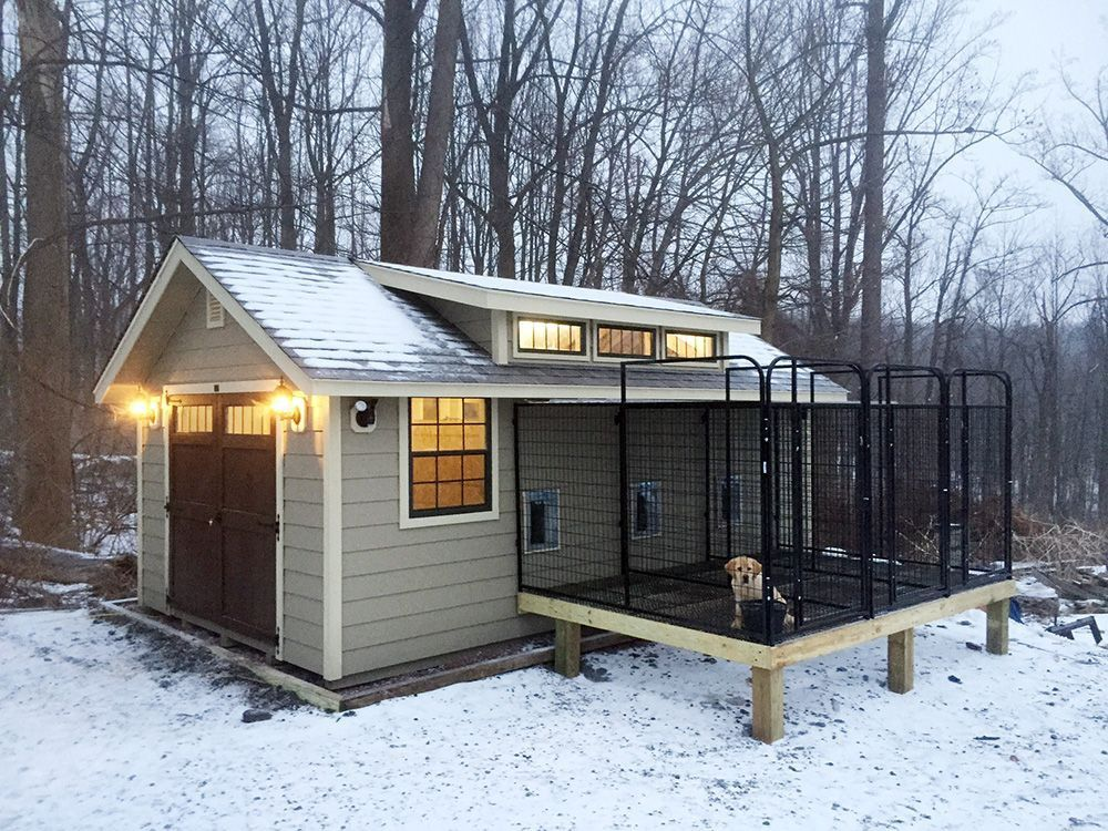 Fancy Indoor Outdoor Dog Kennel Barn With Elevated Outdoor Runs