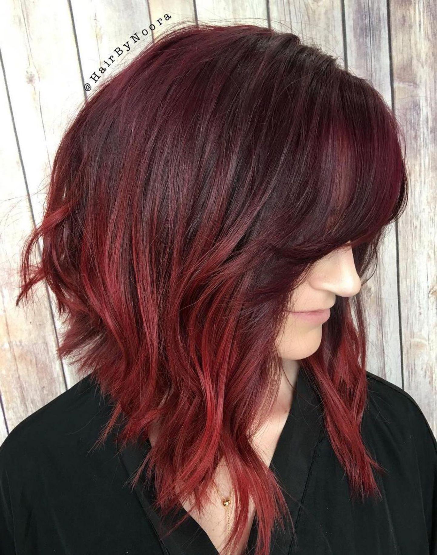 45 Shades Of Burgundy Hair Dark Burgundy Maroon Burgundy With Red Purple And Brown Highlights Burgundy Hair Burgundy Balayage Inverted Long Bob