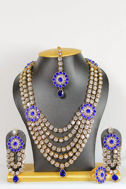 Ebay Blue Stone Indian Bollywood Gold Plated Party Wear Necklace