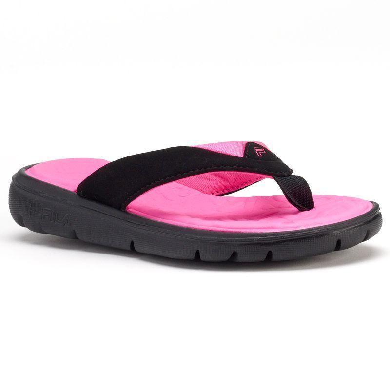12cf699435ab FILA Beachfront Girls  Flip-Flops black neopink slip on made made size 6 NEW