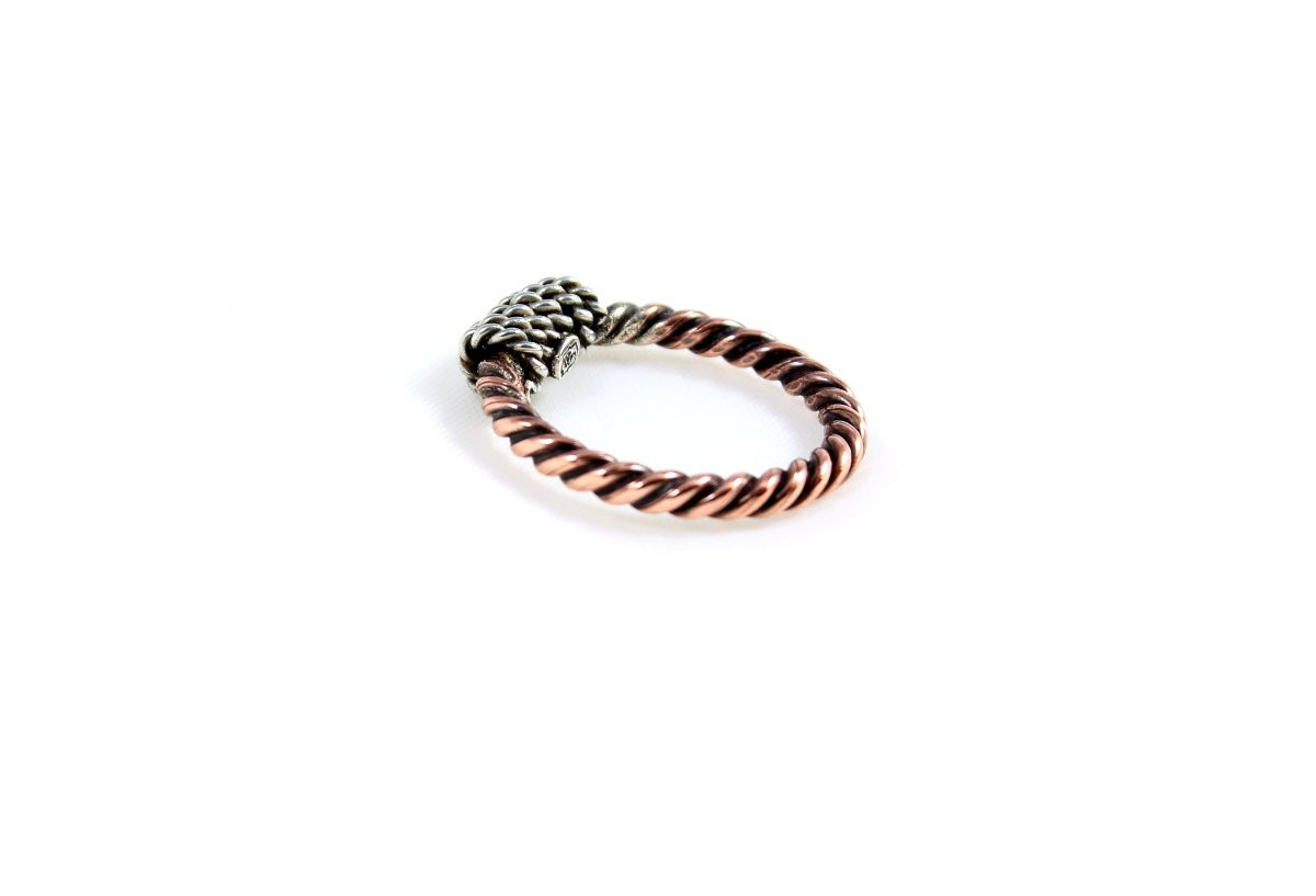 Twisted Copper & Sterling Silver Wire Ring, Size 5 1/2, Swirls Mixed ...
