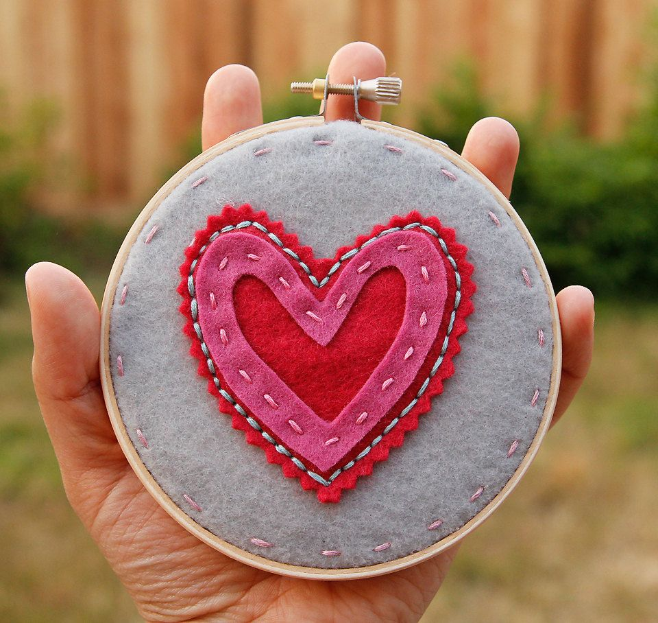 Embroidery Hoop Art. Layered and Stitched Heart. Pink and Red on Grey Children Decor by Catshy Crafts. $25.00, via Etsy.