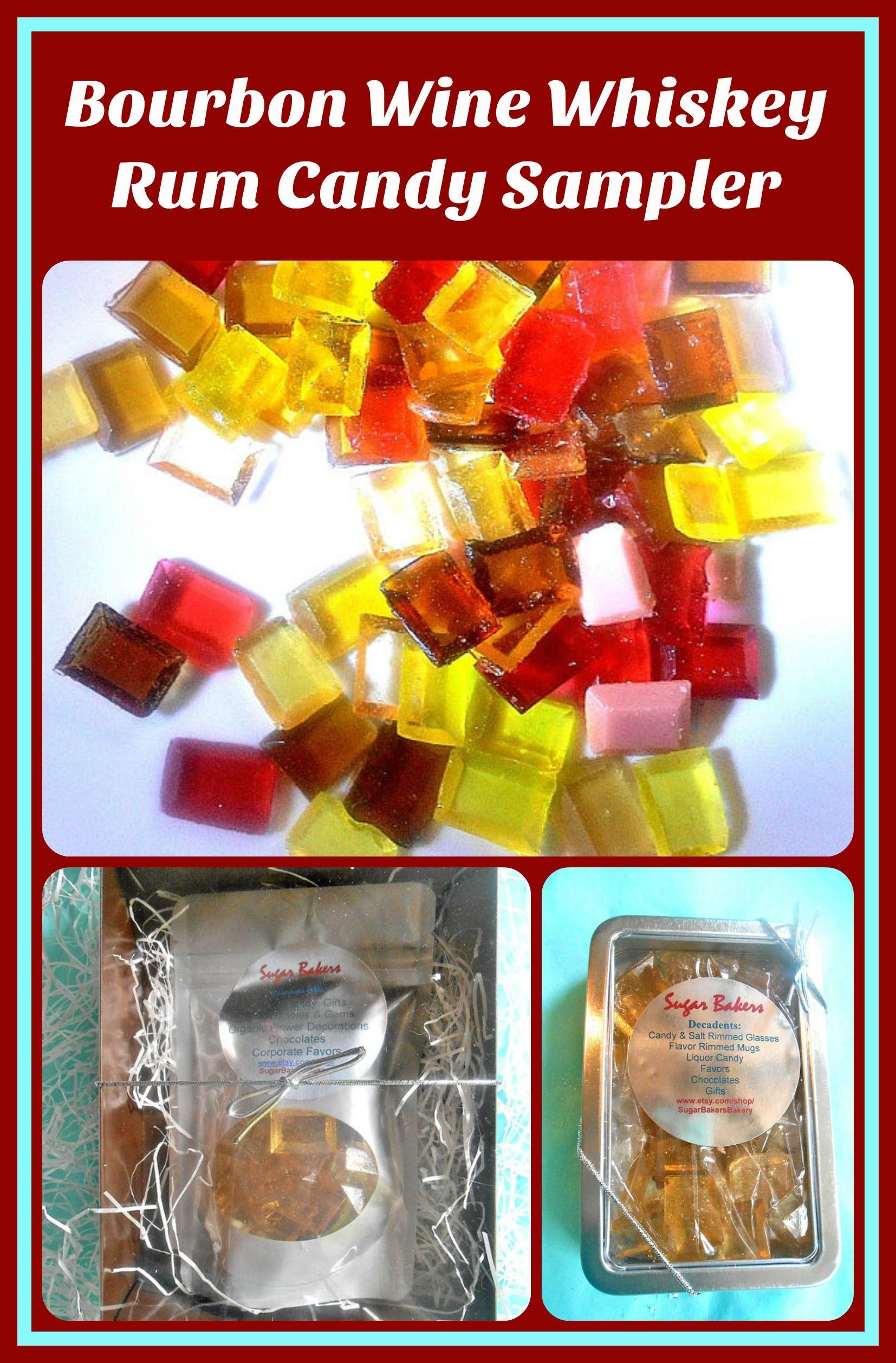 Gift boxed sampler bourbon wine whiskey rum candy