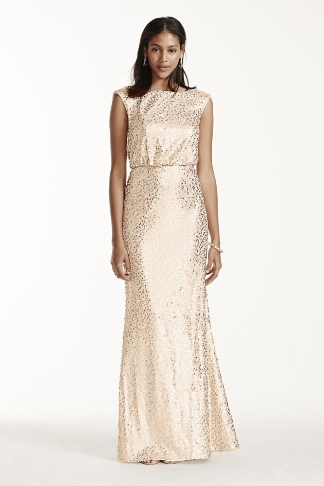 33de5c59 View David's Bridal expansive collection of elegant plus size bridesmaid  dresses! Extra Length Sequin Blouson Dress Style 4XLF19022, Gold, 2X