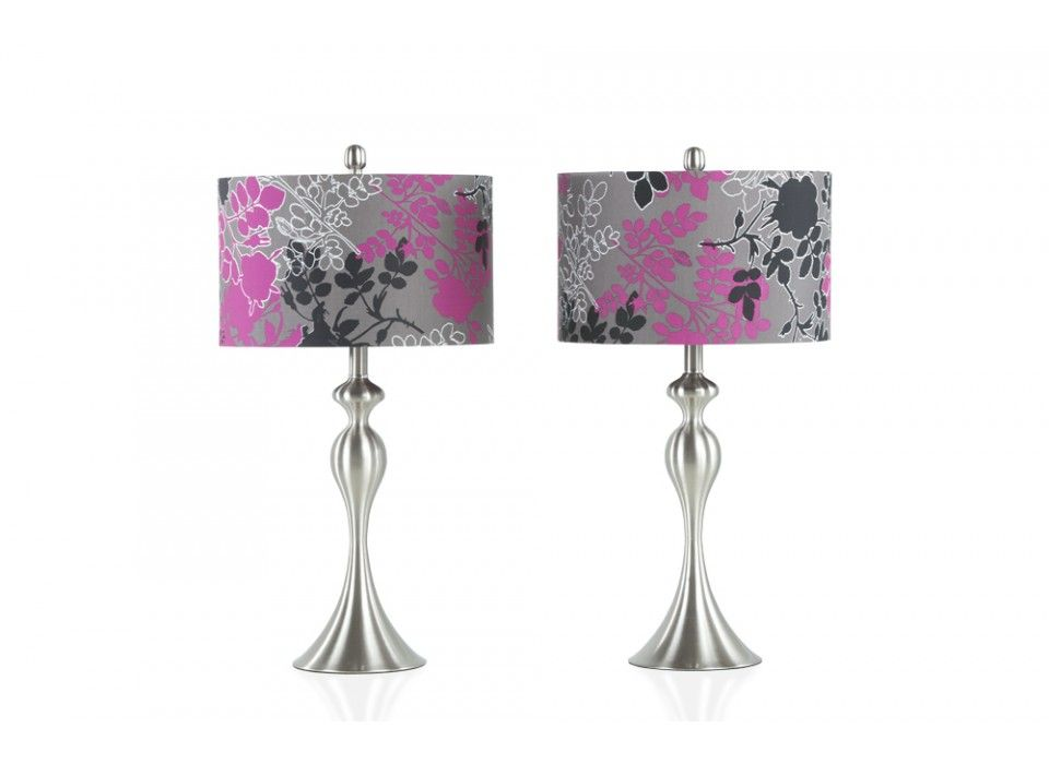 Set Of 2 Purple Grey Floral Lamps Home Accents Bob S