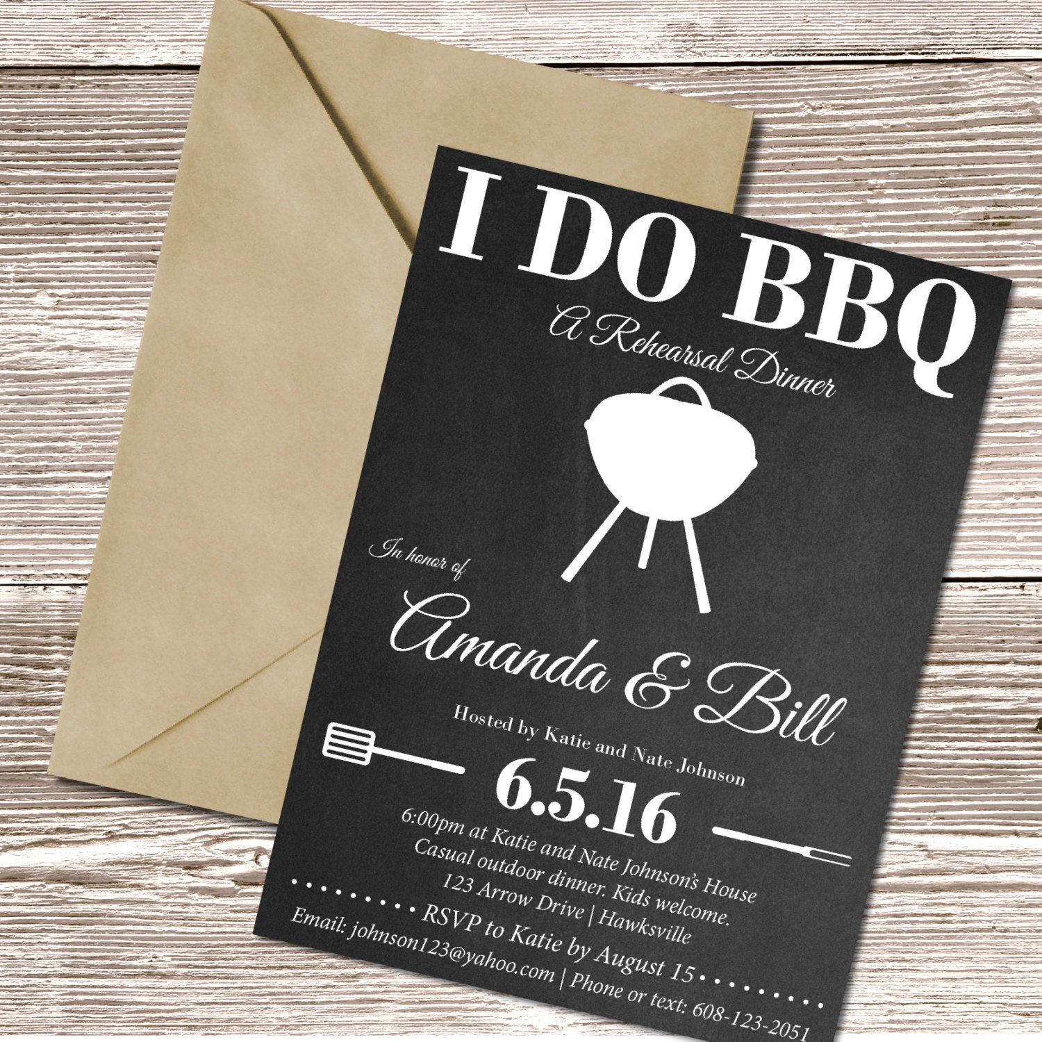 I DO BBQ Rehearsal Dinner Invite