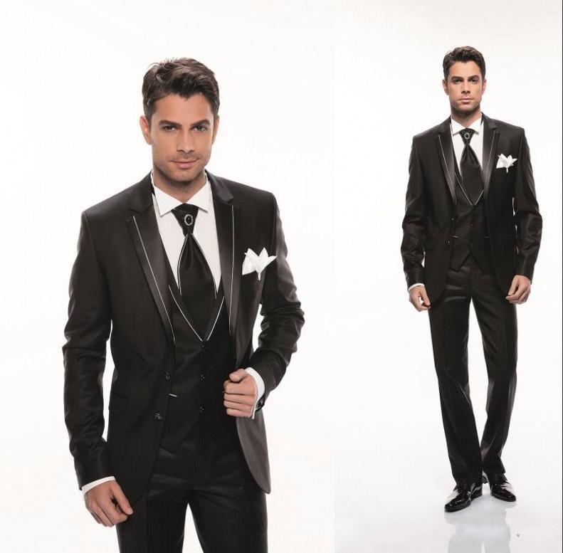 Custom Made Groom Tuxedos Notch Shiny Lapel Best Man Suit Black ...