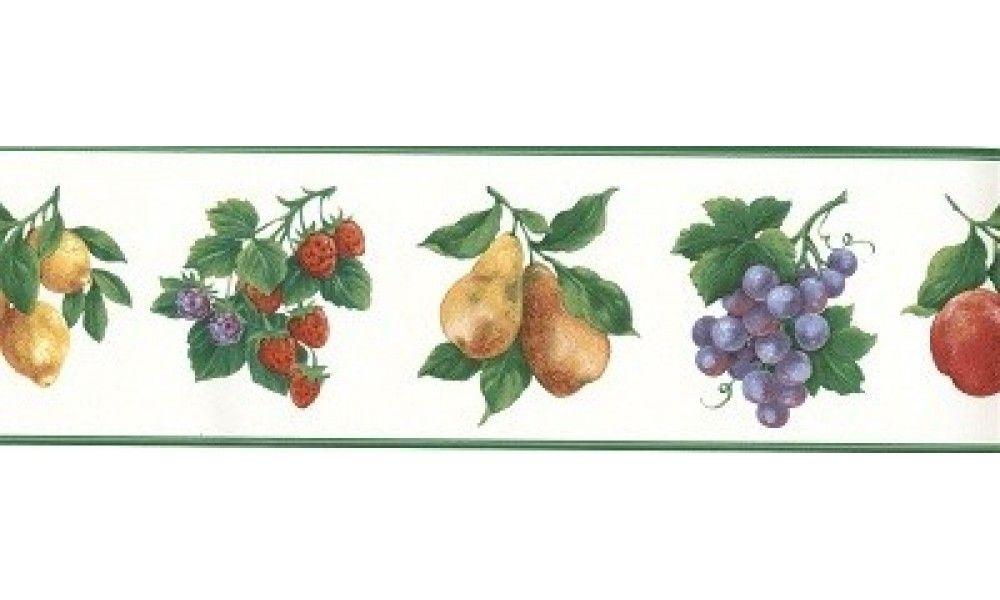 5 In X 15 Ft Prepasted Wallpaper Borders Green White Fruit Wall Paper Border Fruit Wallpaper Wallpaper Border Wallpaper