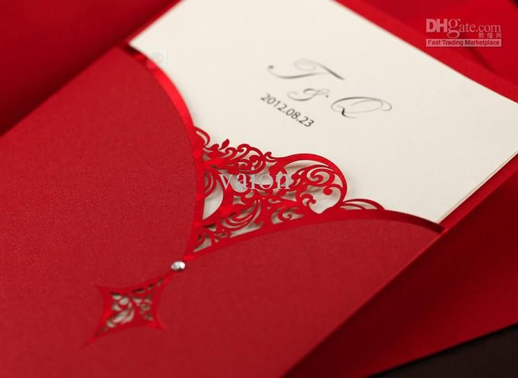 discount red sup flower wedding invitations wedding cards personalized