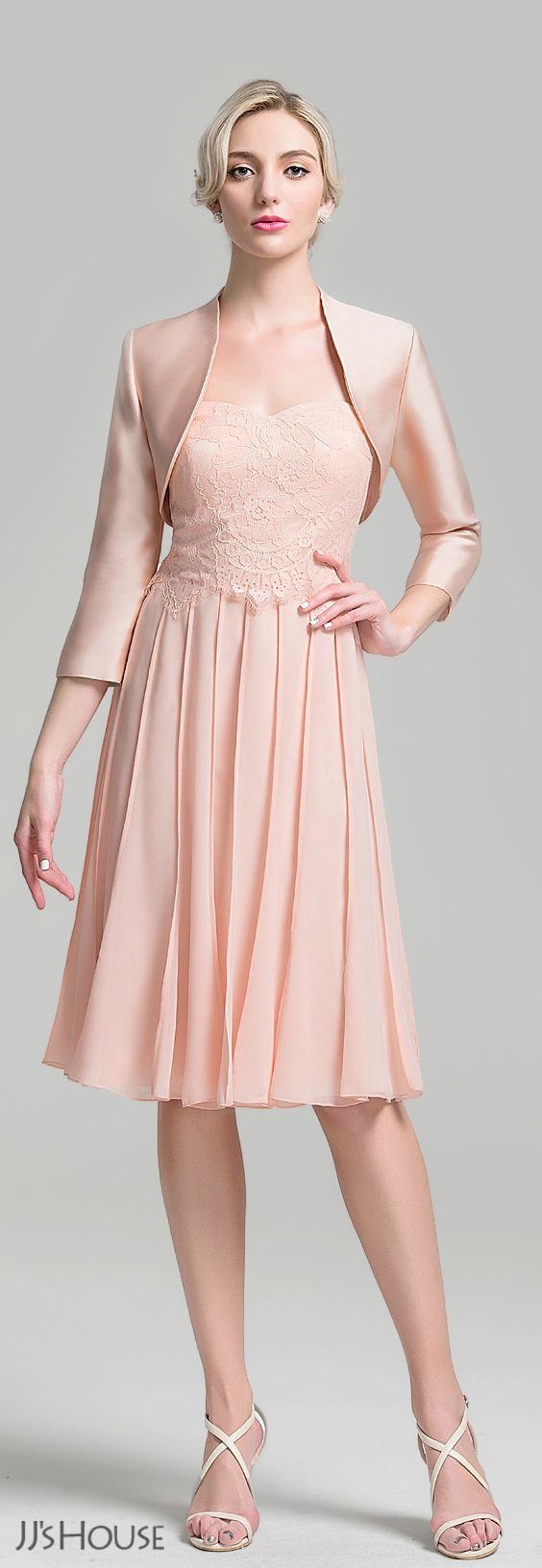 A-Line/Princess Sweetheart Knee-Length Chiffon Mother of the Bride ...