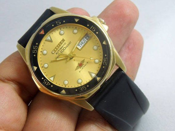 476e72e8284 automatic watch vintage citizen 7 WR 100 clean condition yellow gold ...