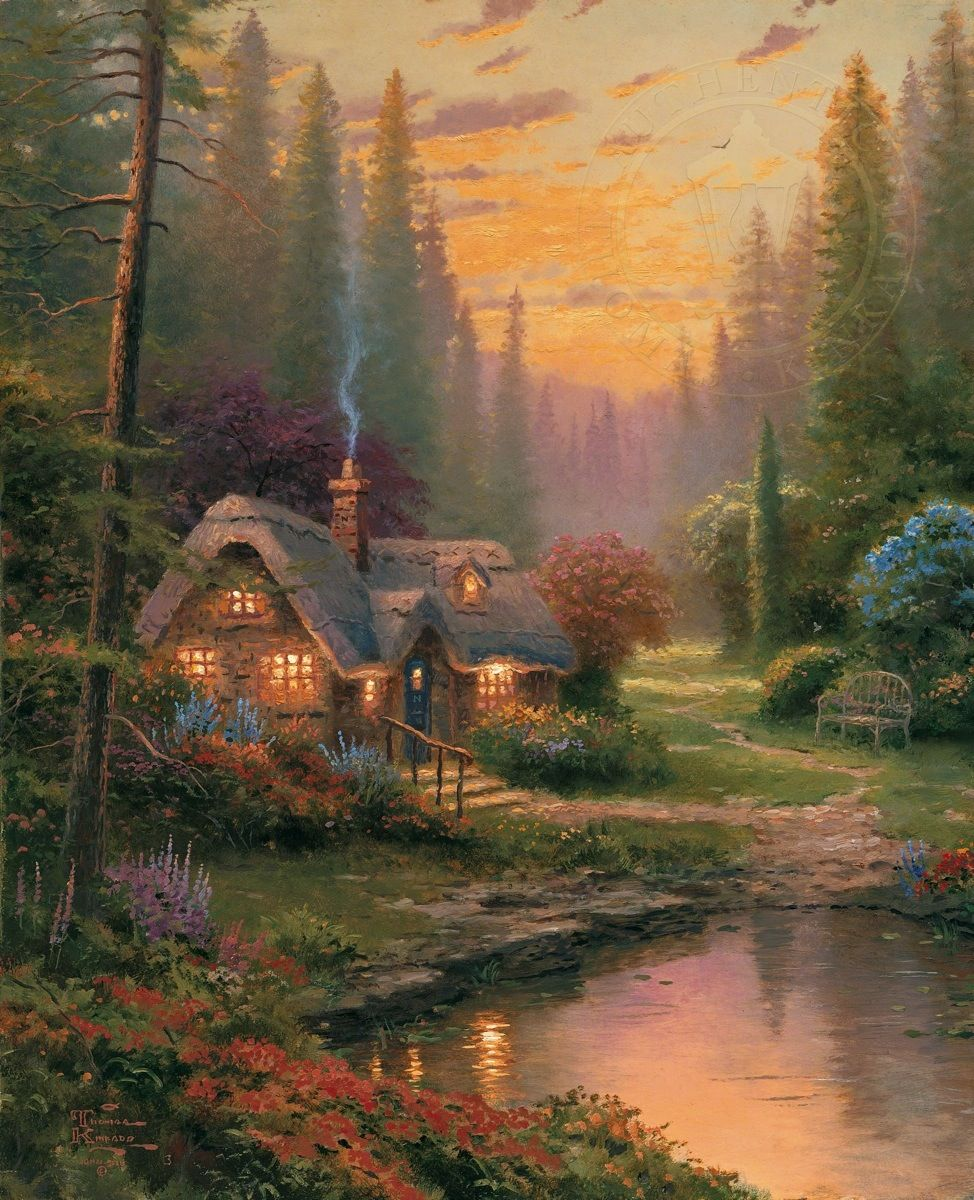 meadowood cottage thomas kinkade pinterest thomas kinkade malerei und bilder. Black Bedroom Furniture Sets. Home Design Ideas