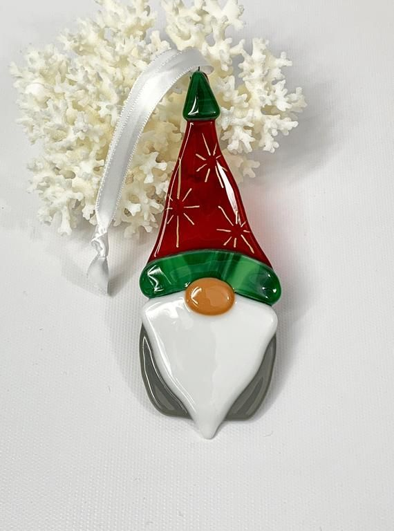 2021 Christmas Ornaments Guys Christmas Ornament Gnome Red White And Green Etsy In 2021 Glass Christmas Decorations Fused Glass Ornaments Fused Glass