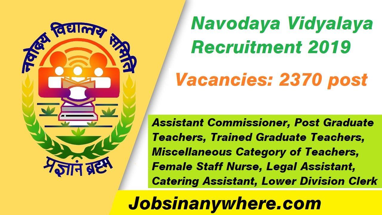 Navodaya Vidyalaya Recruitment 2019 Graduating teacher