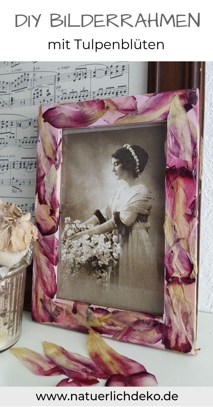DIY Bilderrahmen mit gepressten Tulpenblüten