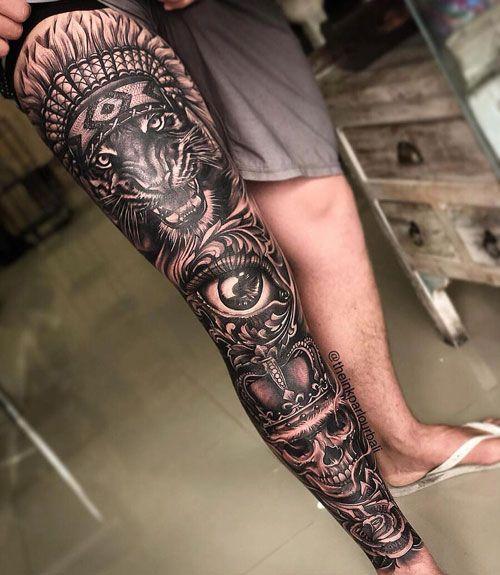 125 Best Leg Tattoos For Men In 2020 Leg Tattoo Men Best Leg Tattoos Thigh Tattoo Men