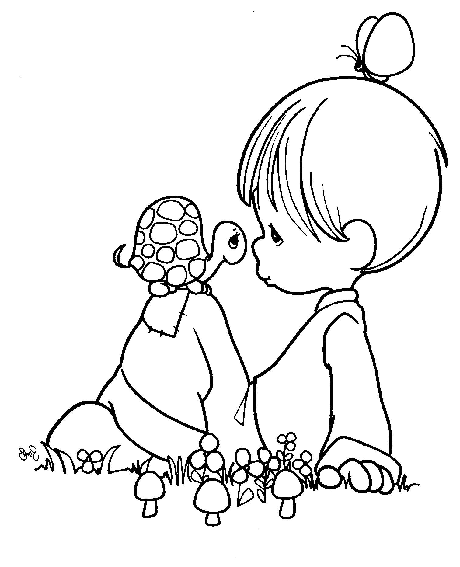 Precious Moments And Little Turtle Coloring Pages