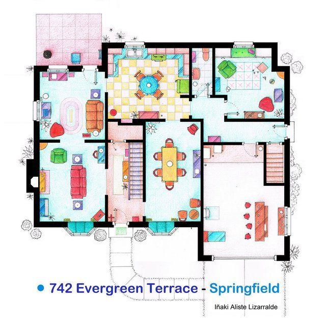 The Simpsons House Floor Plan Print Things For My Wall Pinterest - Minecraft simpsons haus bauen deutsch