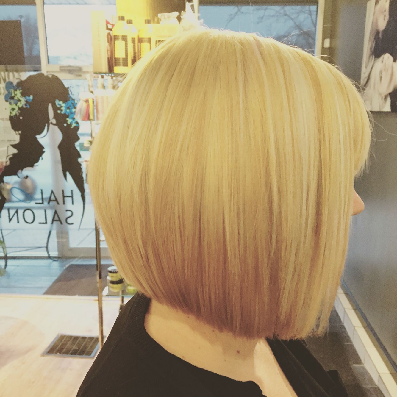 Inverted blonde bob halo salon buffalo