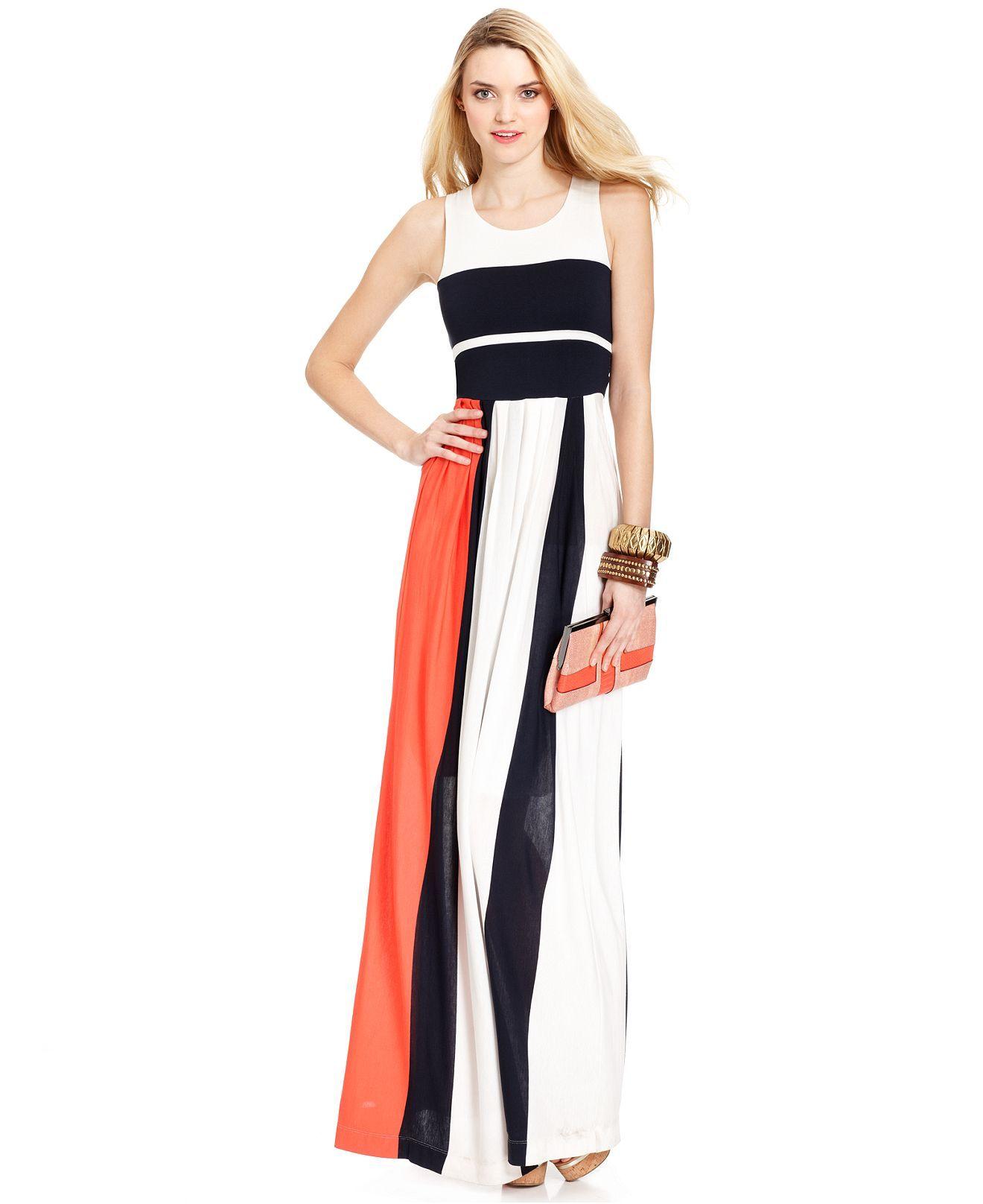French connection dress medina sleeveless colorblock maxi womens