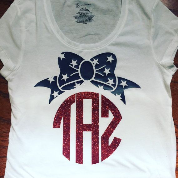 Bow monogram tshirt by SweetMintDesignsTA on Etsy
