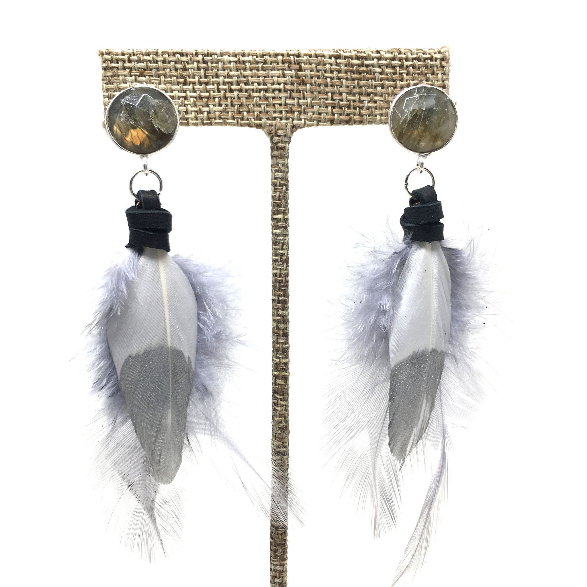 Feather Earrings | White + Silver
