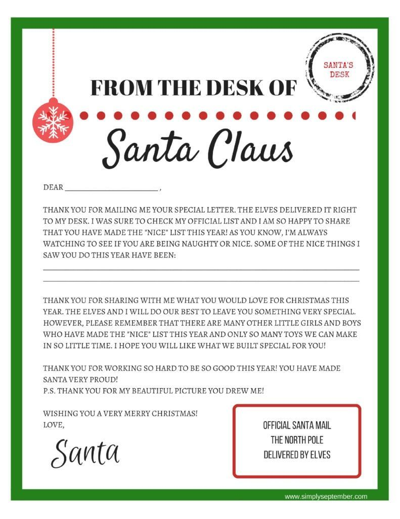 Santa letter template Letters To and From Santa Free