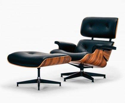 Eiffel Lounge-Stuhl und Hocker - Schwarze Premiumleder