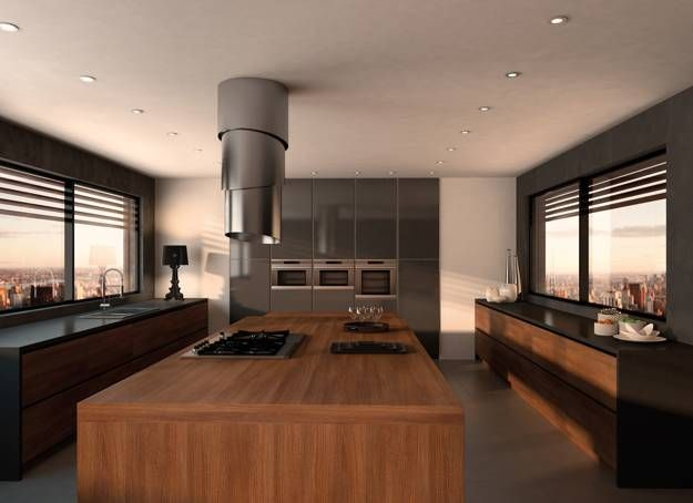 Retractable Kitchen Hood Adding Steel Chic to Contemporary Kitchen - contemporary kitchen hoods