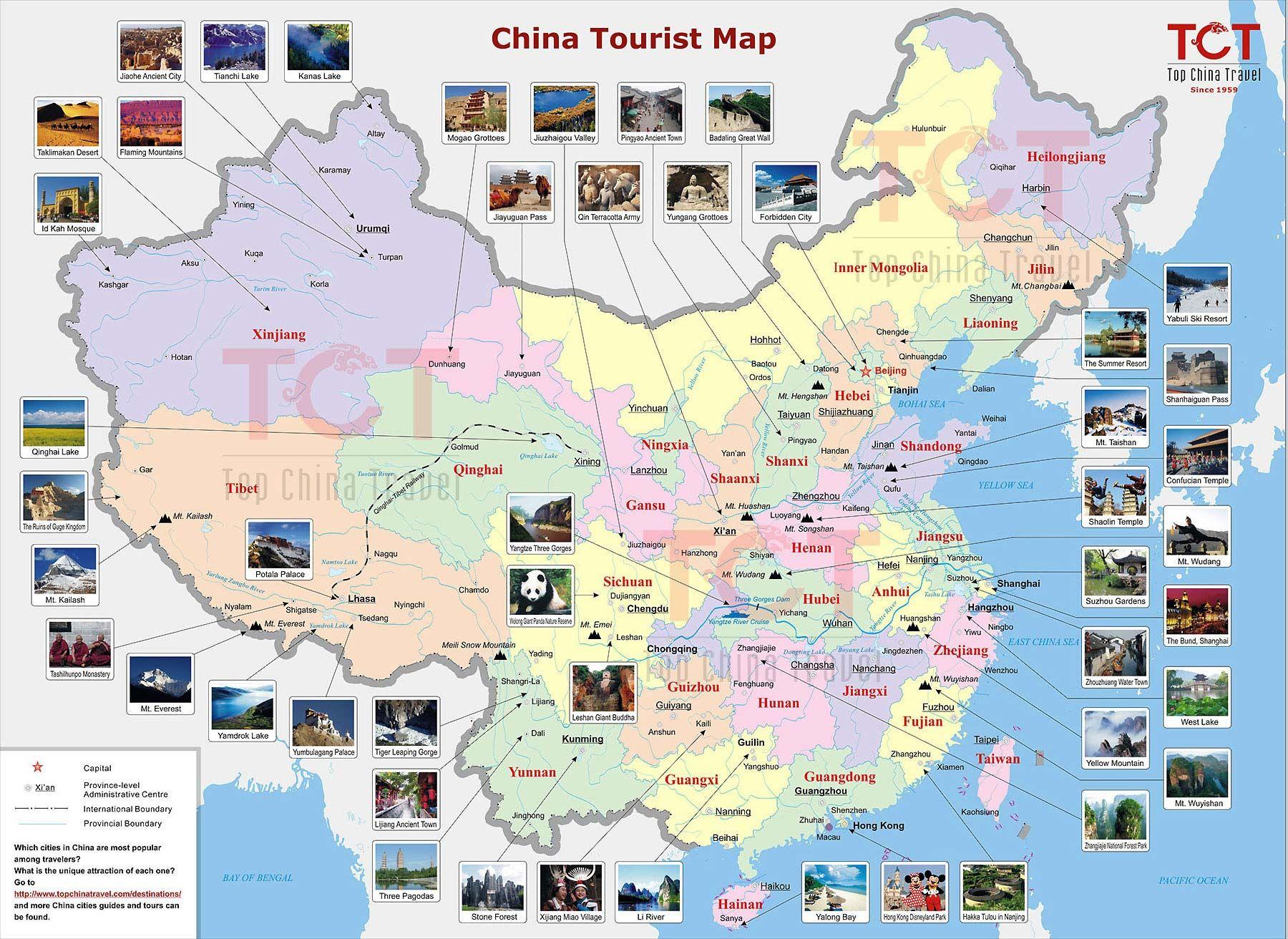 China Tourist Map Tourist Map of China