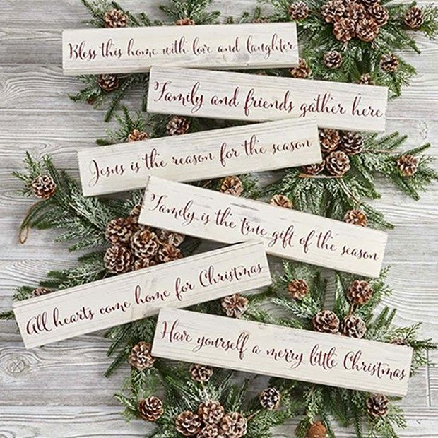 Christmas Phrases Wall Signs, Set of 6