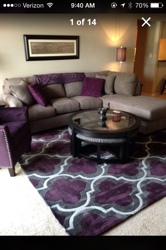 Hubby would find this too feminine lol but it really would for Purple and grey living room decorating ideas
