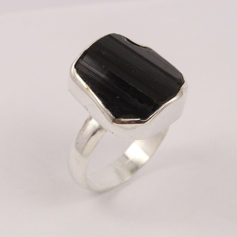 Tourmaline Ring Gorgeous Black Tourmuline Ring Raw Ring CZ Ring Rough Stone Ring