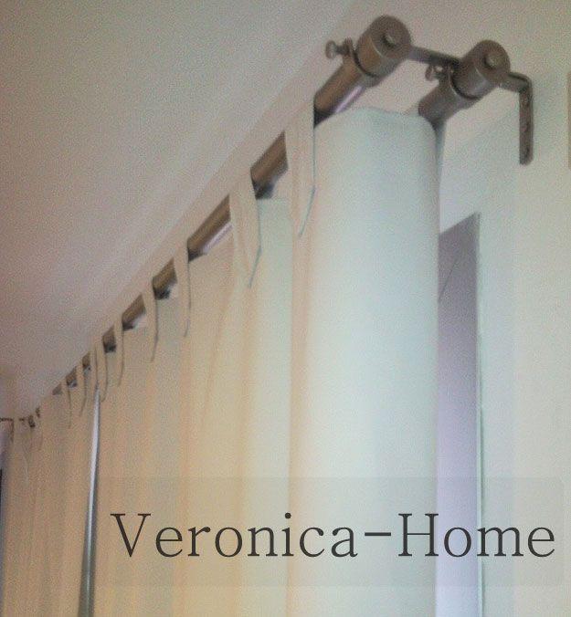 Cortinado doble alambre hierro metal pinterest - Soporte doble cortina ...