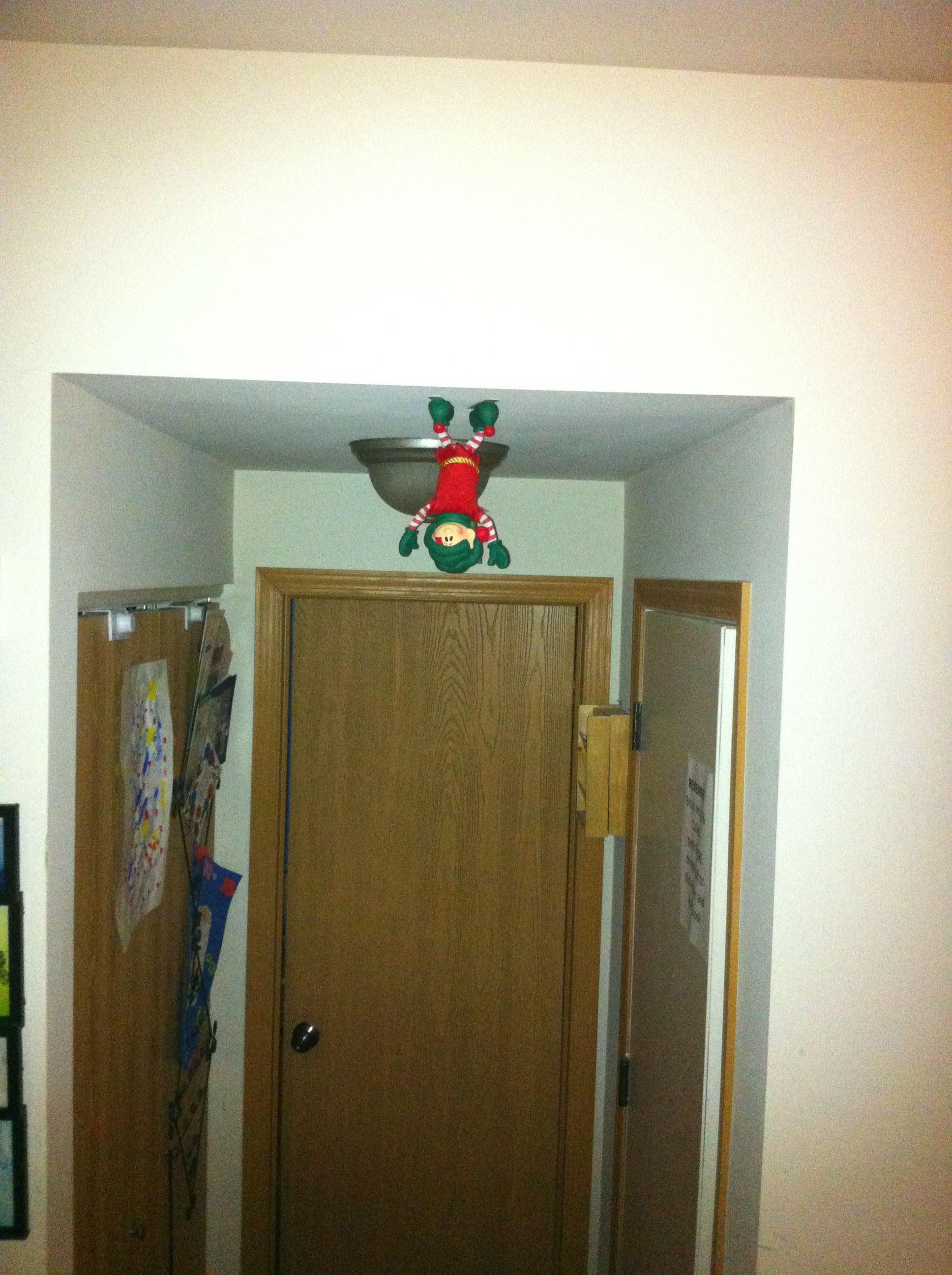 Elf walking on the ceiling - use 3M tape for the hooks ...