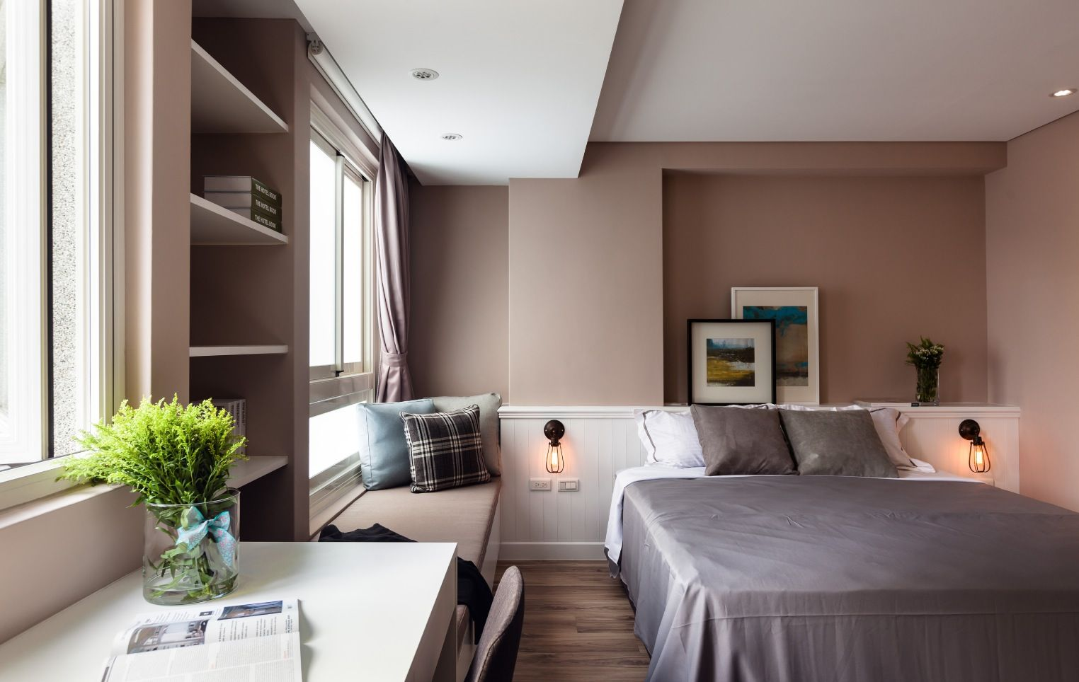 In The Master Bedroom A Smooth Cookie Dough Wall Color Evokes A Soothing  Atmosphere, Perfect