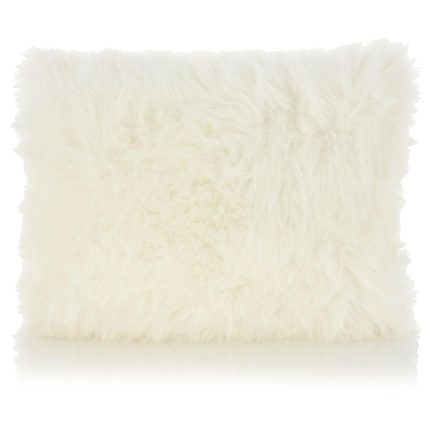 George Home White Faux Fur Cushion 30x40cm