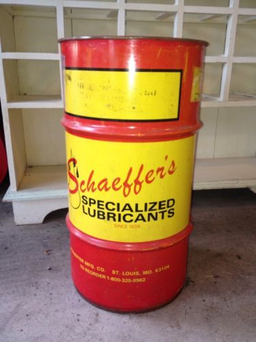 Vintage schaeffer 39 s oil barrel 16 gallon can sign rare for Motor oil by the barrel