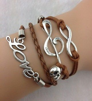 Amazon.com: Brown Multi-strand Cord Bracelet, Men, Womens, Boys or Girls Bracelet. Silver Music, Infinity & Love Charms, 3pcs Infinity, Musi...