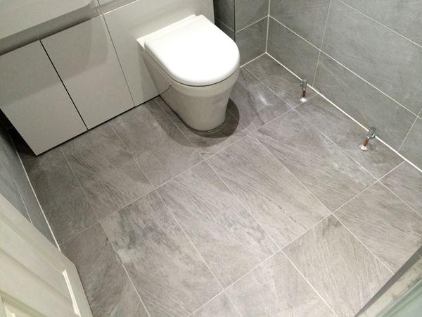 Porcelain Floor Tiling in a Bathroom Installation by UK Bathroom ...