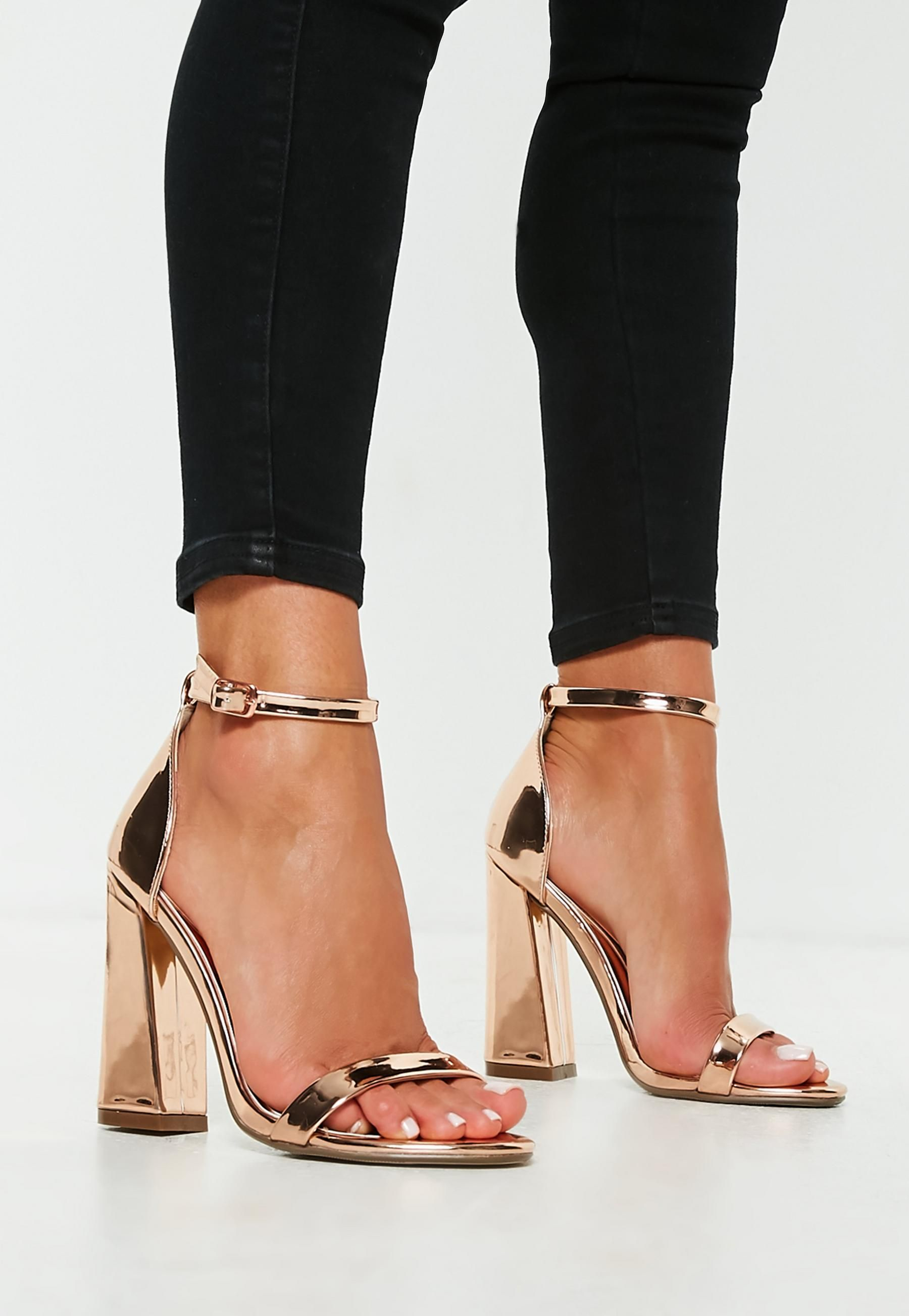 98fdda143cf5 Missguided Rose Gold Flared Block Barely There Heels