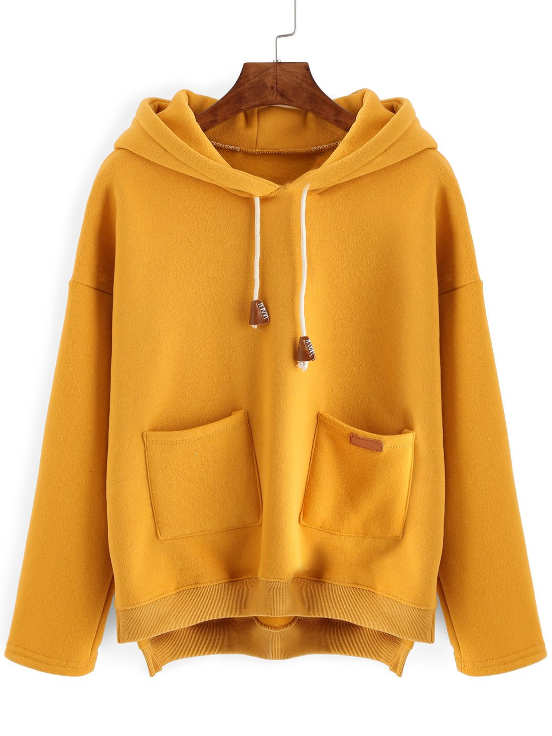 6c5a0872a Buy Hooded Drawstring Dip Hem Split Side Sweatshirt With Pockets ...
