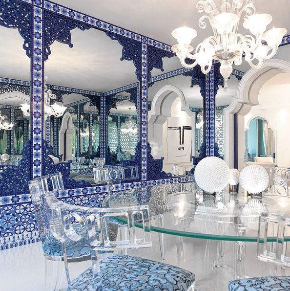 Salon bleu marocain chic salon marocain pinterest for Salon oriental chic