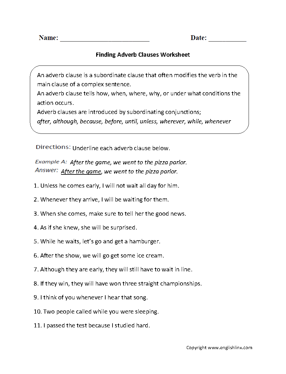 Finding Adverb Clauses Worksheet   Adverbial phrases [ 1188 x 910 Pixel ]