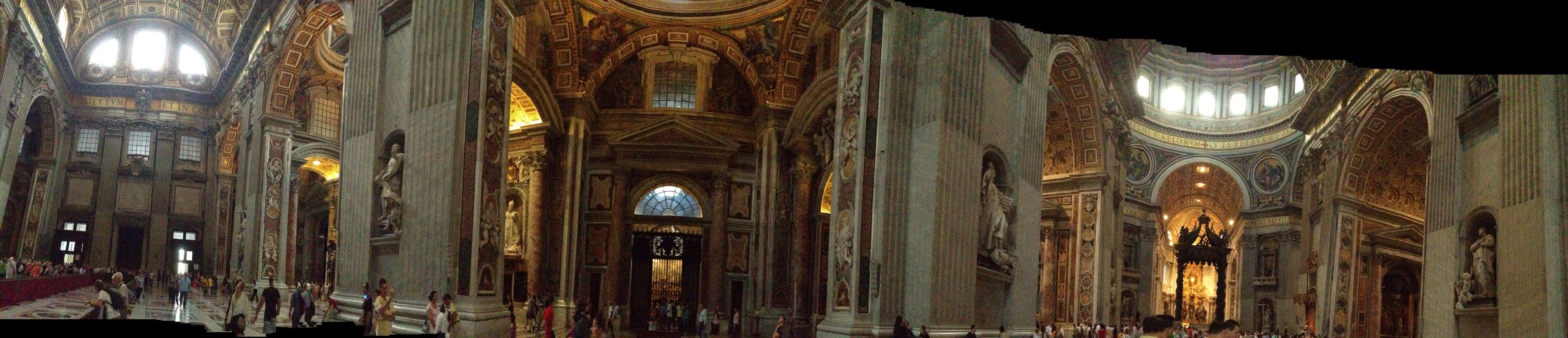 A panoramic view from inside St.Peter's in Vatican ...