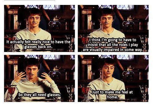 Daniel Radcliffe on glasses Harry Potter